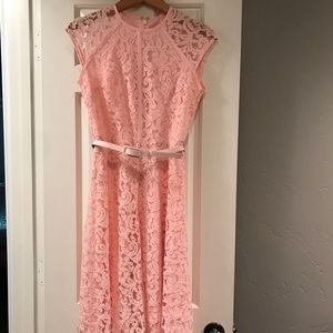 Cap sleeve pink lace fit and flare midi dress